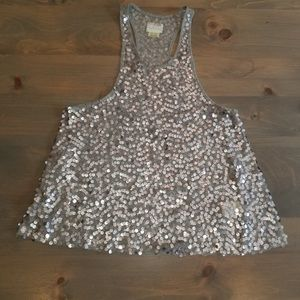 FREE PEOPLE SILVER/GRAY SEQUIN RACERBACK CAMISOLE